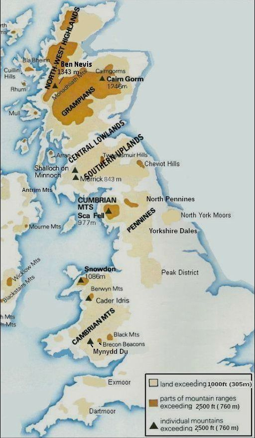 Map Of Uk Hills And Mountains.Upland Areas In England